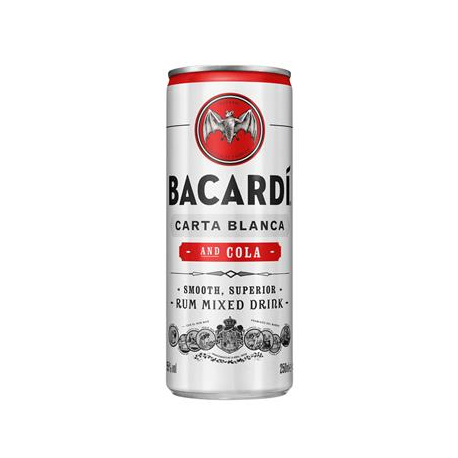 BACARDI & COLA CANS 24X25CL